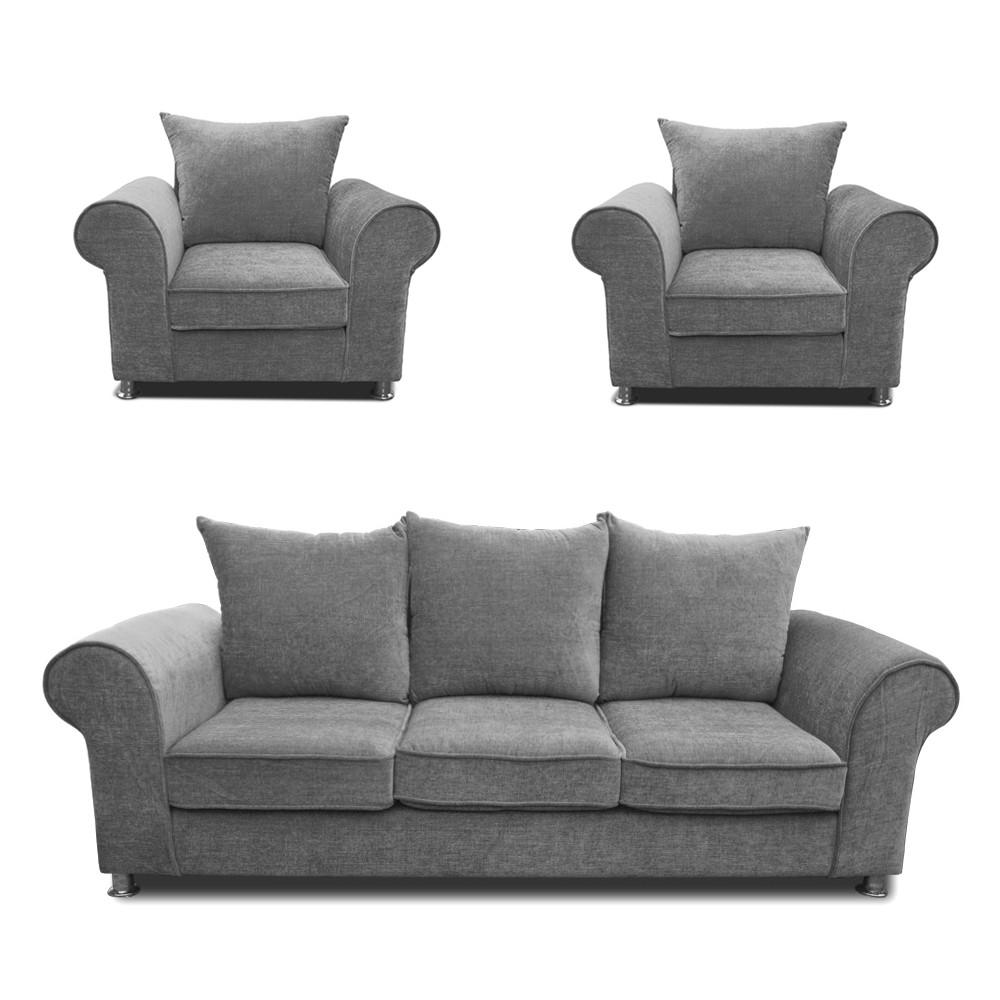 Canberra Sofa Set Light Grey 3+1+1