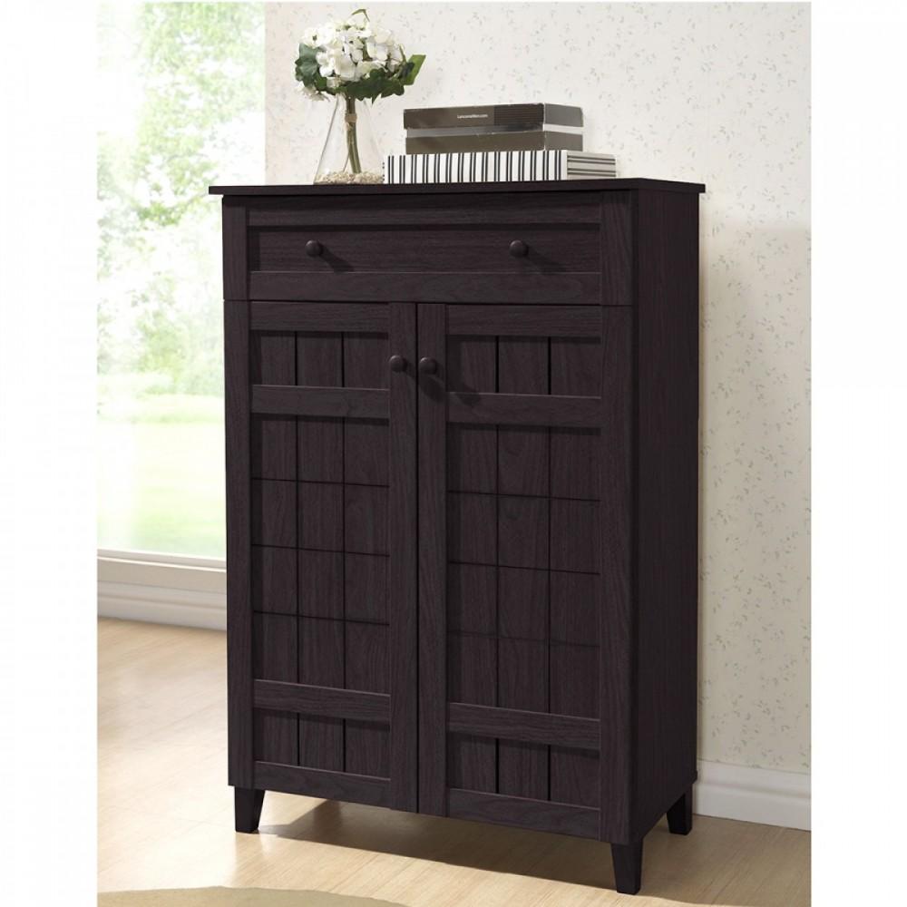 Twinkle Toes Dark Brown Wood Tall Modern Shoe Cabinet