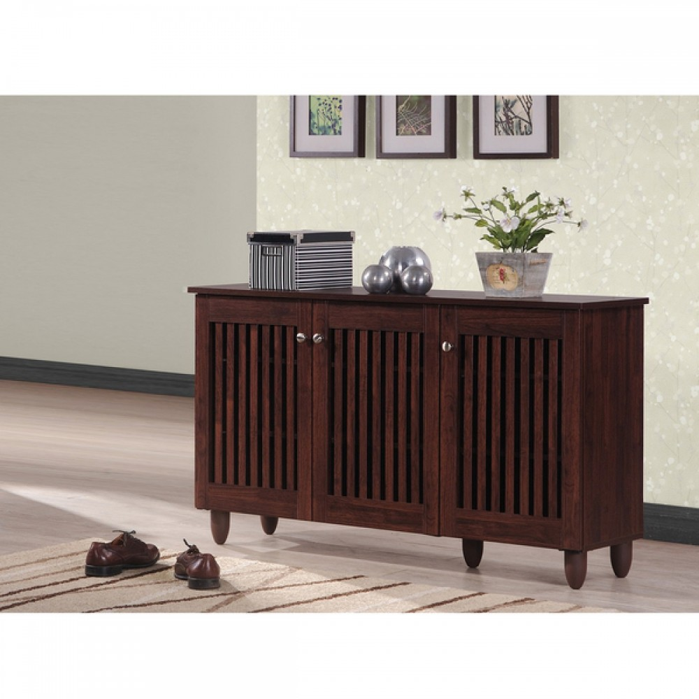 Soled Out Dark Brown Shoe Cabinet With 3 Doors