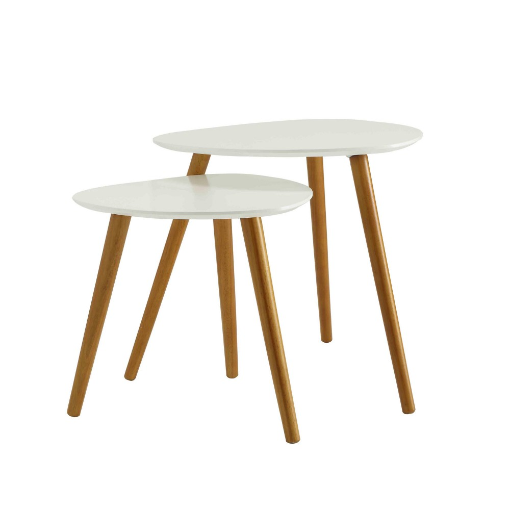 Haute Couture 2 Piece Nesting Tables White