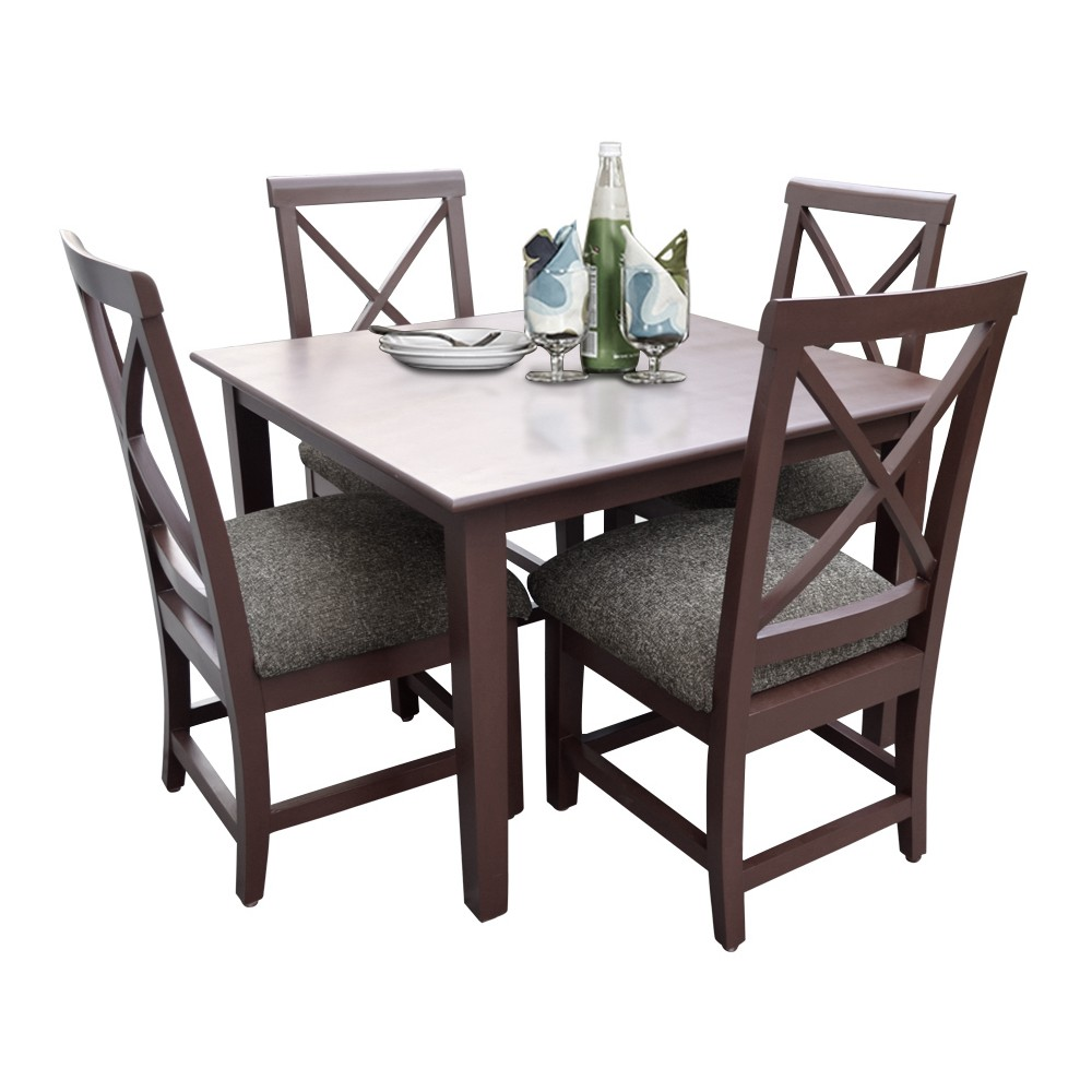Robusta 4 Seater Dining Table Set Dark Brown