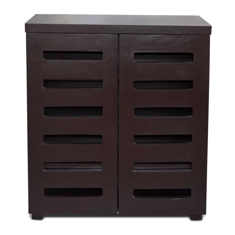 Sole Mates 2-Door Dark Brown Tall Shoe Cabinet