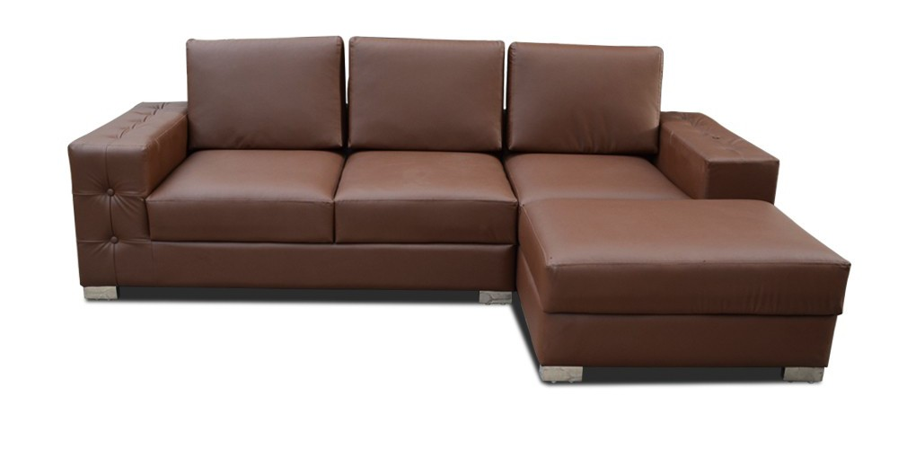 Skyline Two Seater Sectional with Ottoman blue