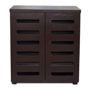 Sole Mates 2-Door Dark Brown Tall Shoe Cabinet