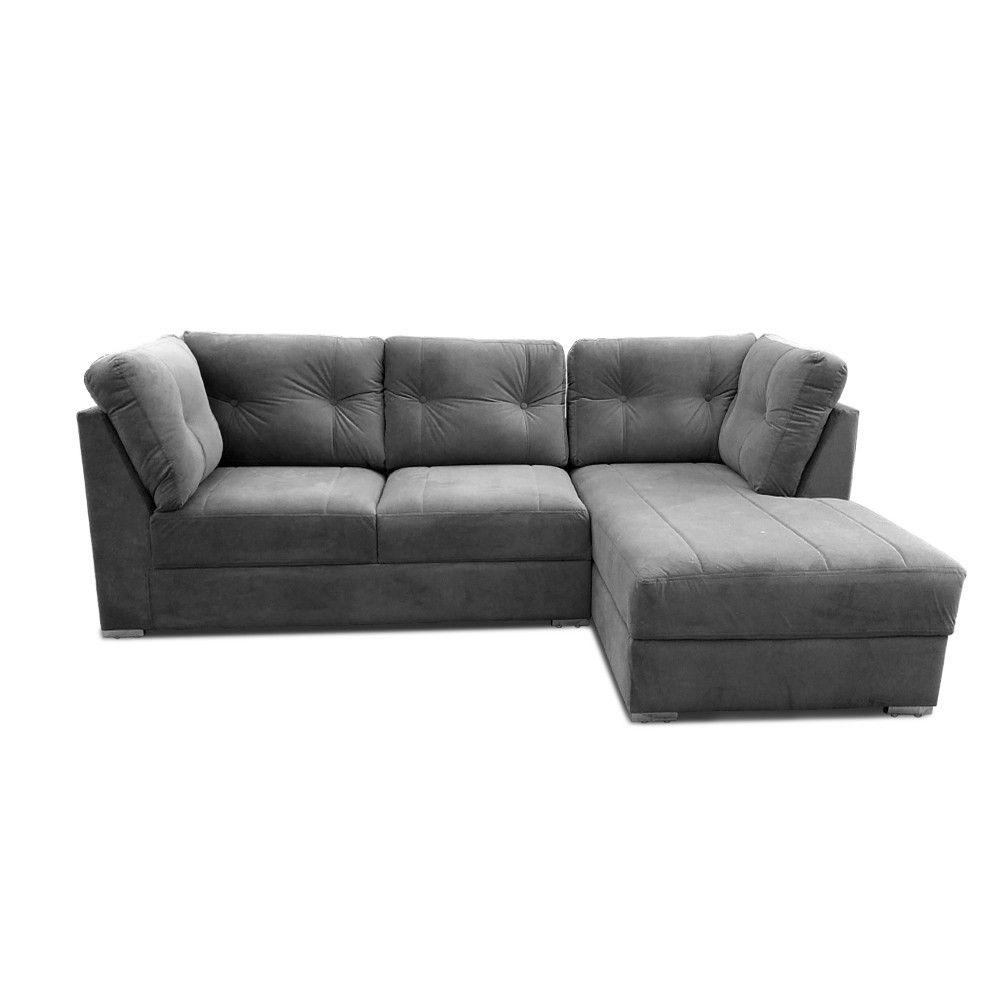 Houston Two Seater Sofa with Chaise Grey