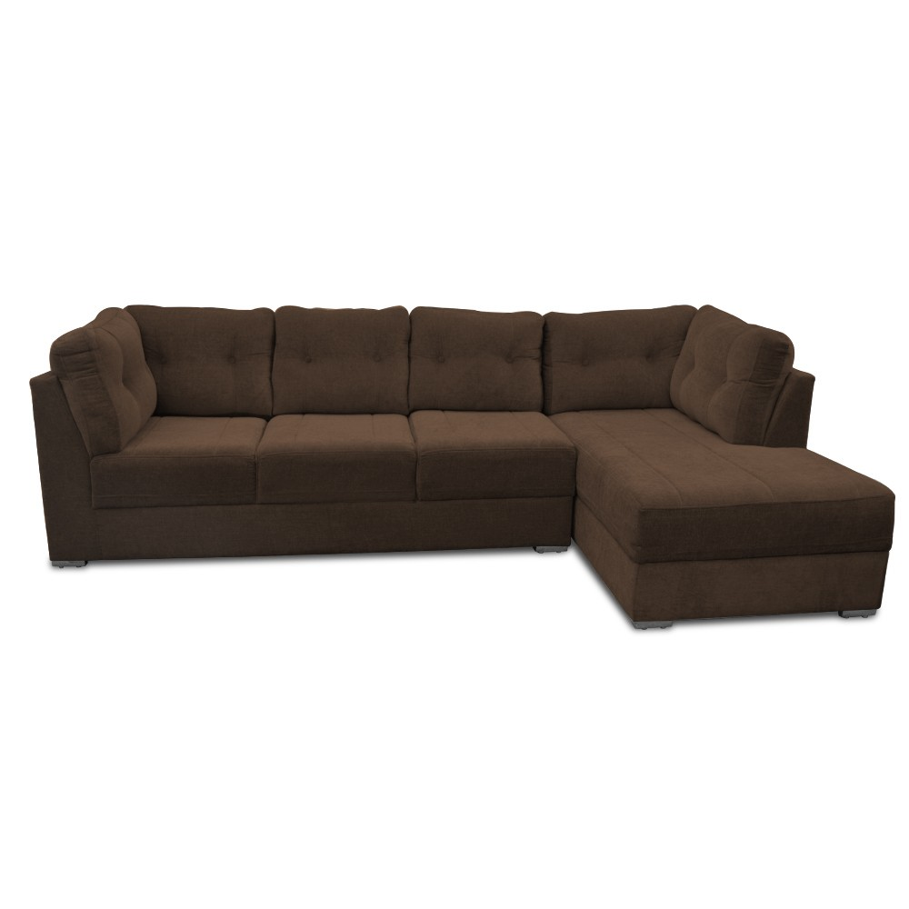 Houston Three Seater Sofa with Chaise Coffee color