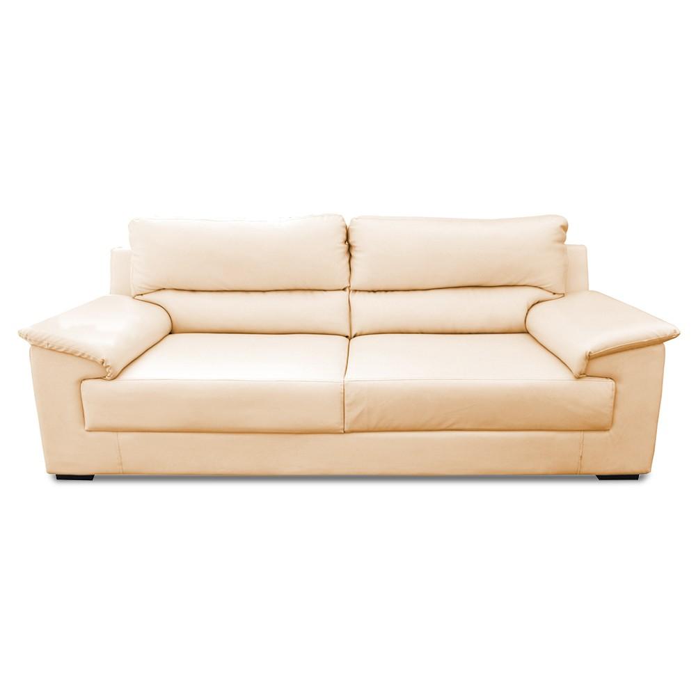 Glamour Three Seater Sofa Half white