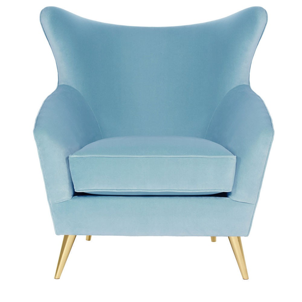 Lara Wing Accent chair  Teal Blue