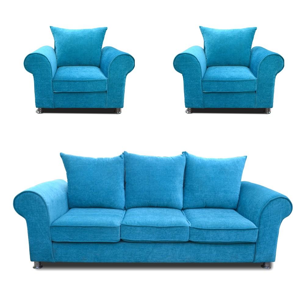 Canberra Sofa Set Teal Blue 3+1+1