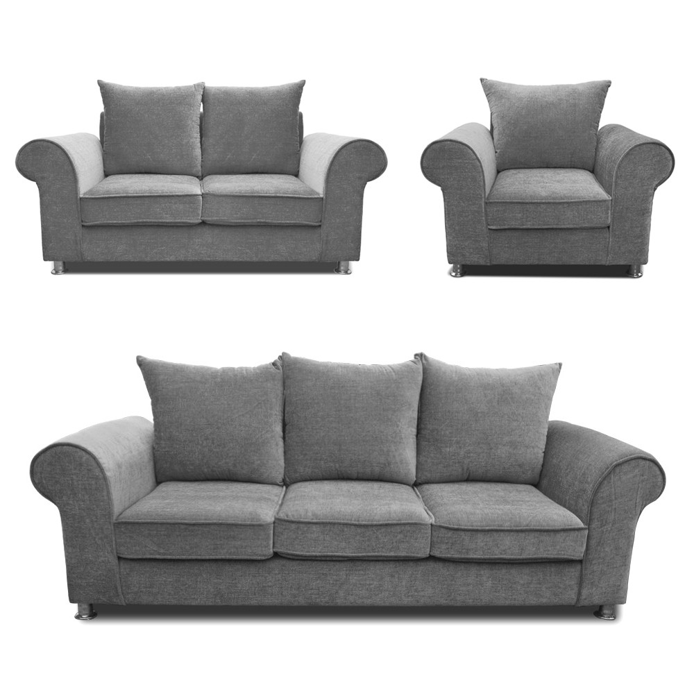 Canberra Sofa Set Light Grey 3+2+1