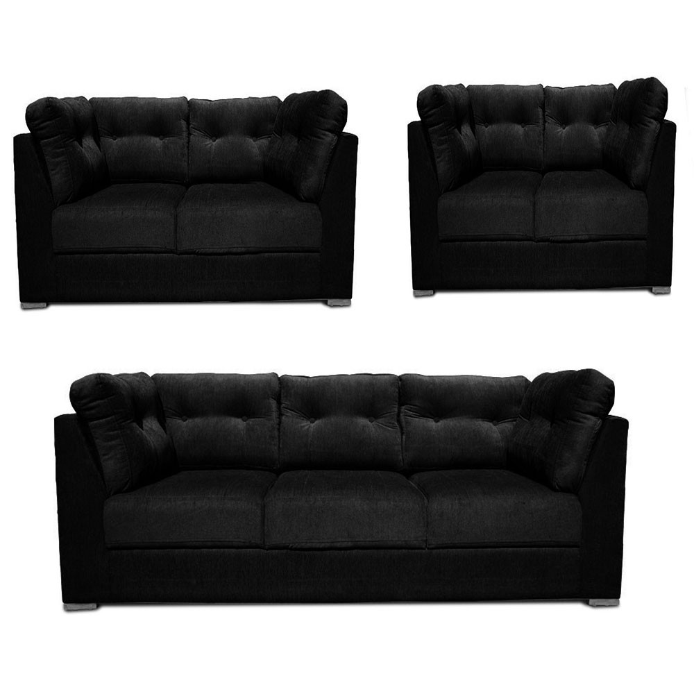 Houston Sofa Set Black 3+2+2