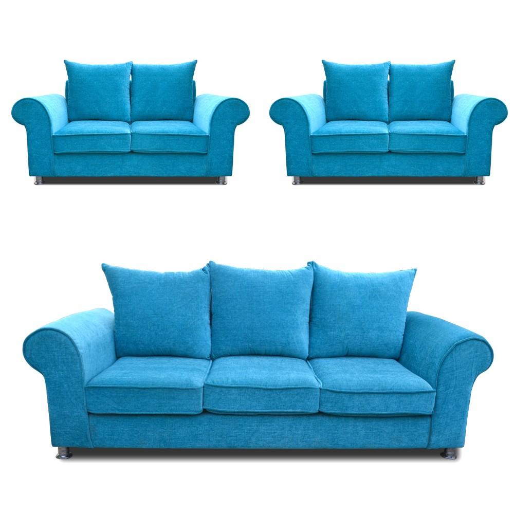 Canberra Sofa Set Teal Blue 3+2+2