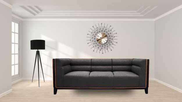 Abraxas  three Seater Sofa Drak Gray