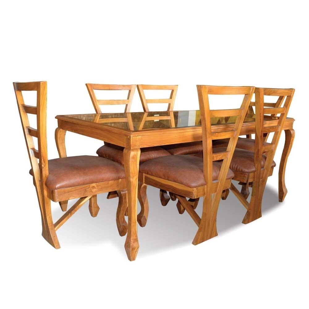 Arrow 6 Seater Dining Table Teak Wood Gold