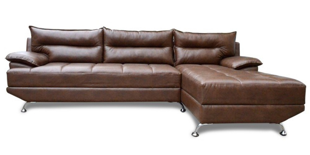 Berlin Three Seater Sectional Sofa with Chaise Brown