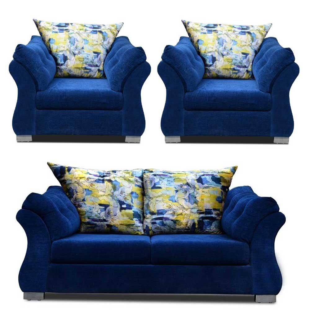 Bernard Sofa Set Blue 2+1+1