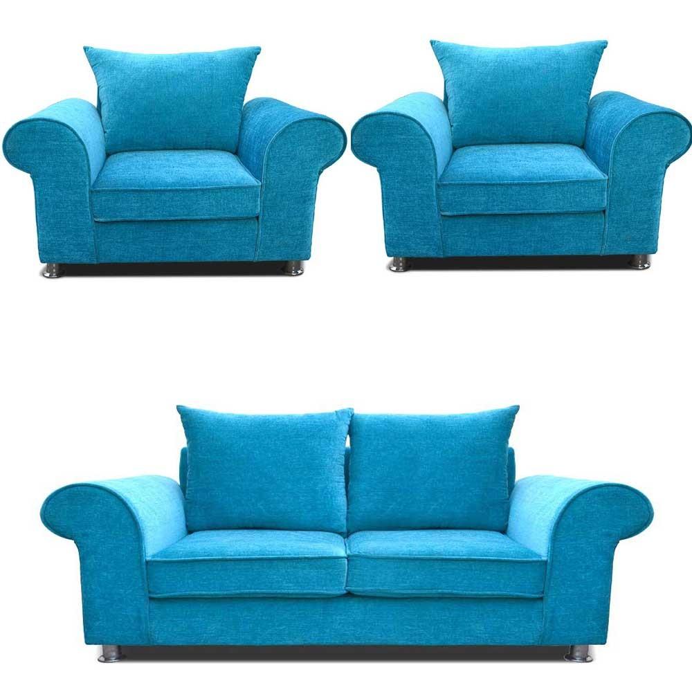 Canberra Sofa Set Teal Blue 2+1+1