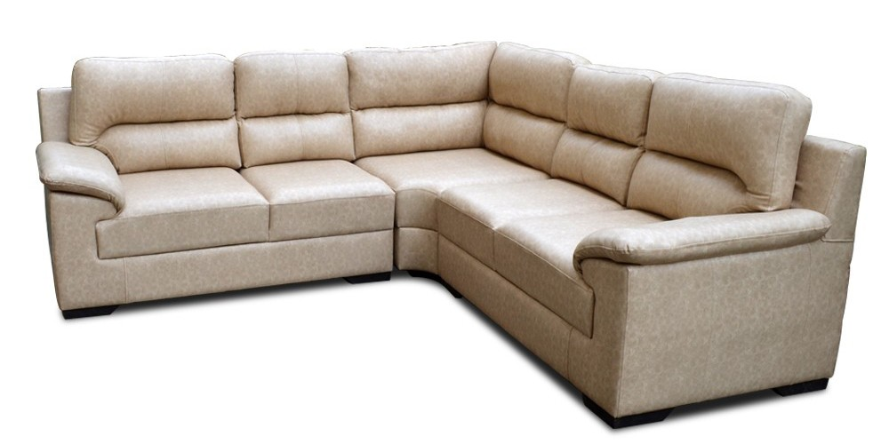Open Arms L Shaped Sofa half White