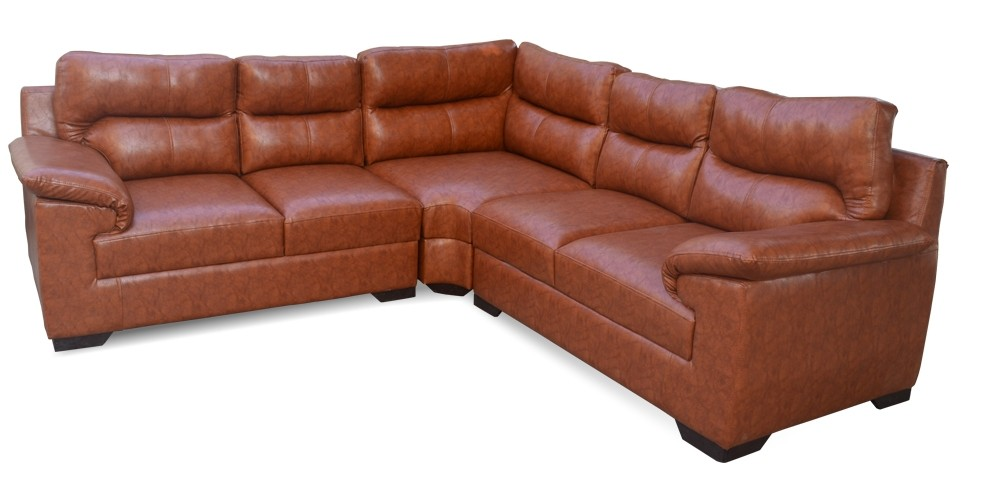 Open Arms L Shaped Sofa Brown