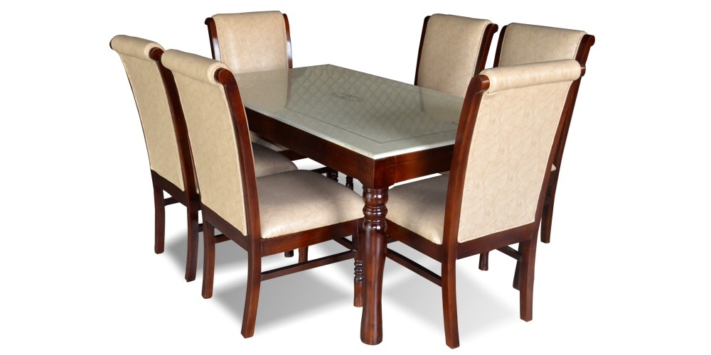 Helena 6 Seater Dining Table Set with Marble Top