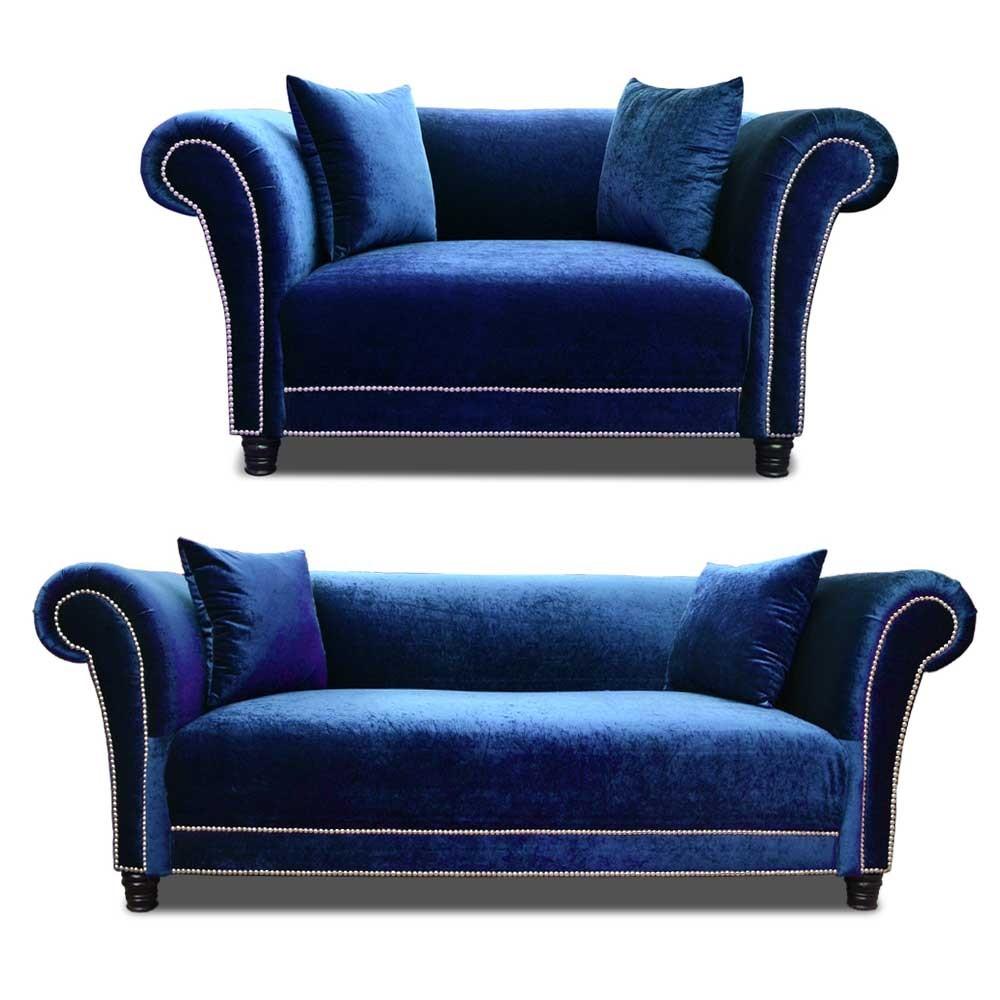 Johann Sofa Set Blue 3+2