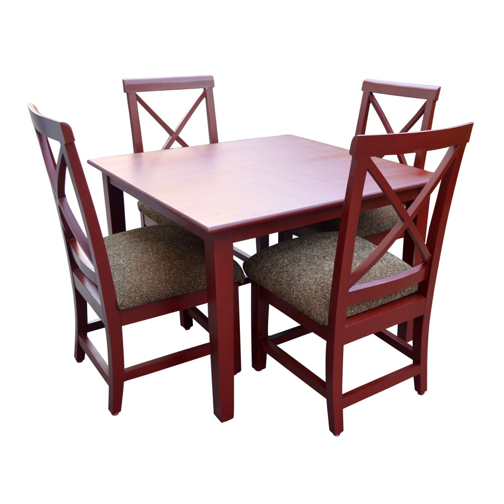 Robusta 4 Seater Dining Table Set Brown Dining