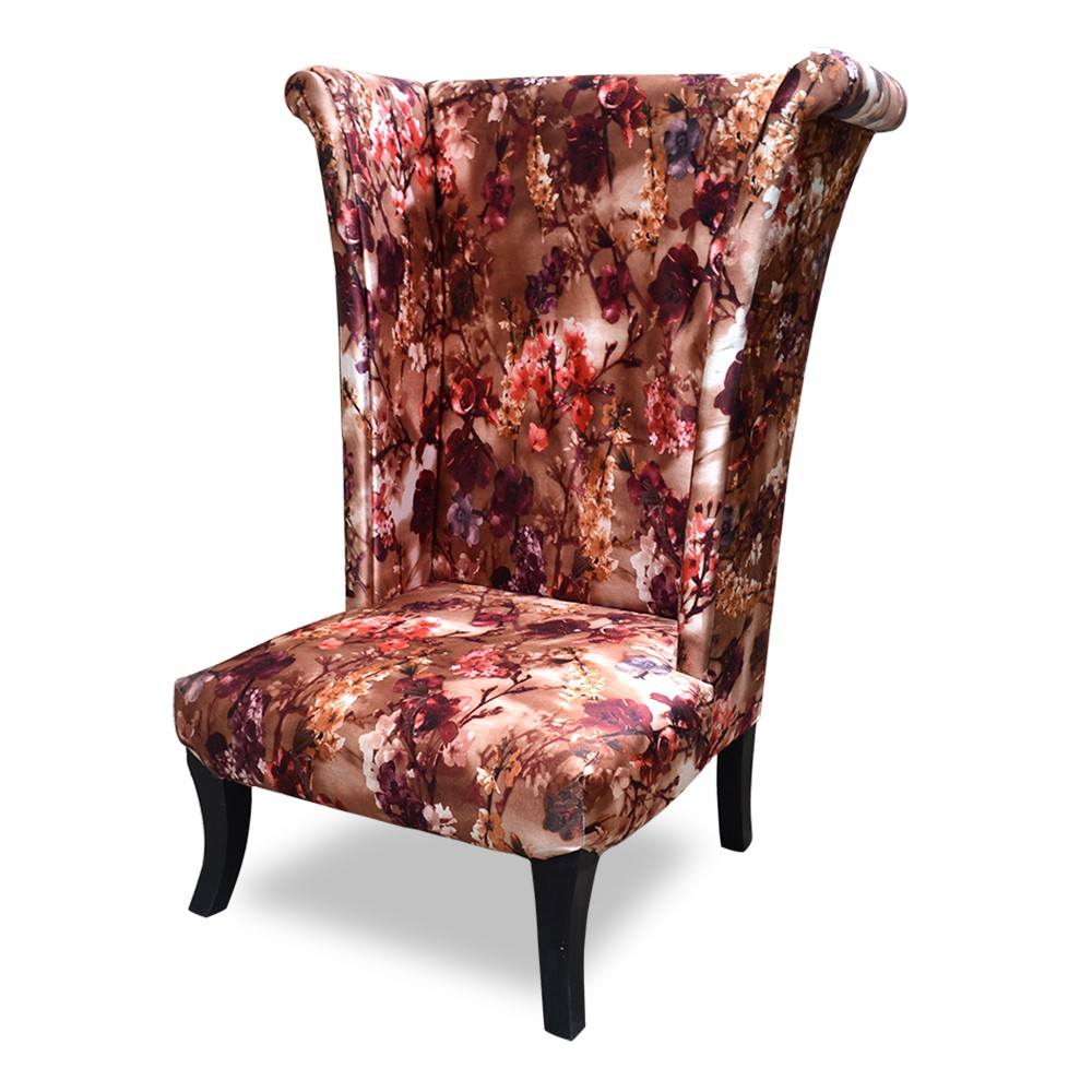 Wing Chair Printed Red