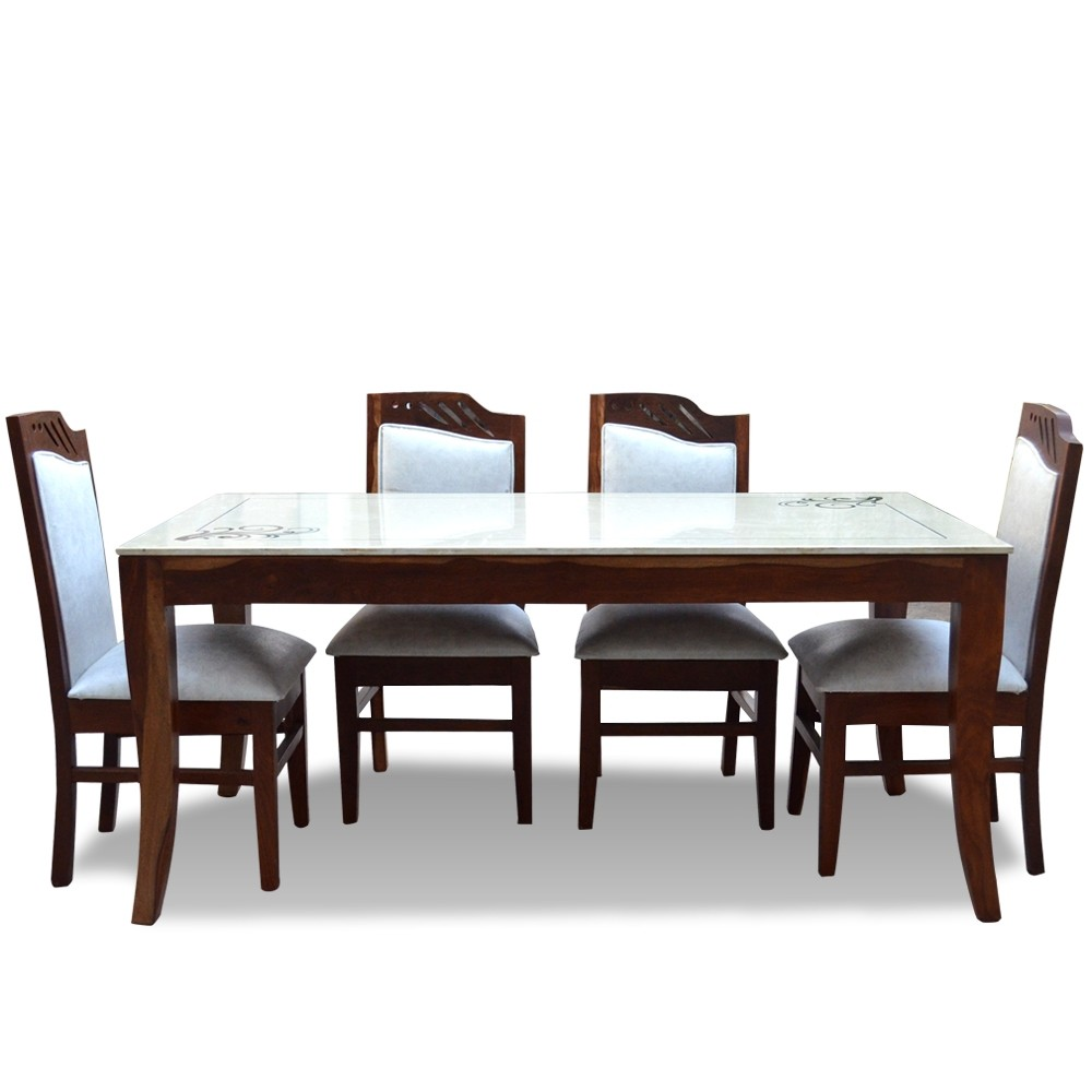 6 Seater Dining Table Set with Marble Top