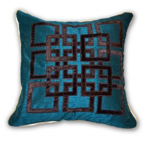 Teal Blue with Aztec Cushion
