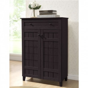 Twinkle Toes Dark Brown Wood Tall Modern Shoe Cabinet