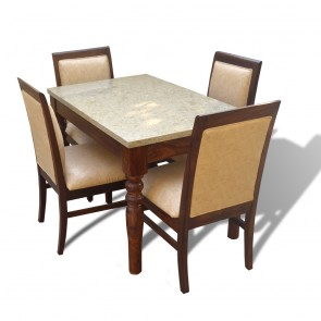 Sophie 4 Seater Dining Table Set with Marble Top