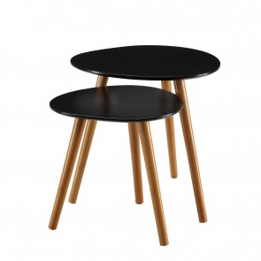 Haute Couture 2 Piece Nesting Tables Black