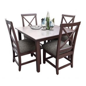 Robusta 4 Seater Dining Table Set Dark Brown